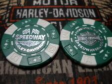 Harley Green & White Poker Chip Speedway Harley Davidson Concord, NC