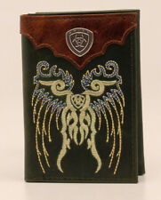 Ariat Mens Wallet Leather Trifold Chief Indian Skull A3534308