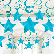CARIBBEAN BLUE SHOOTING STAR SWIRL DECORATIONS (30) ~ Birthday Party Supplies