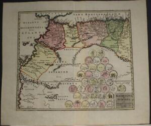 MOROCCO MAURITANIA NORTH AFRICA 1730 HOMANN HEIRS & WEIGEL ANTIQUE ORIGINAL MAP