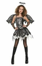 Fallen Angel Gothic Costume Black Halloween Fancy Dress Kids Teen 14-16 Years