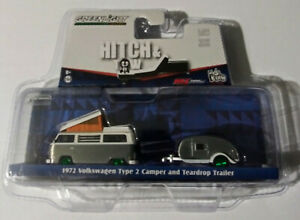 1972 Volkswagen T2 Camper Teardrop Trailer, Greenlight 1:64 Raw Limited Edition