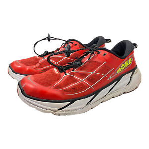 Hoka One One Clifton 2 Red White Yellow Running Athletic Shoes Mens Size 12
