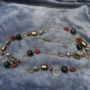 """Lia Sophia Signed Gokd Tone Red and Black Beads Very Long Necklace 53"""""""