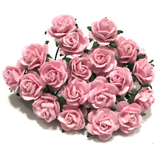 Mid Pink Open Mulberry Paper Roses Flowers Crafts Card Making Or011