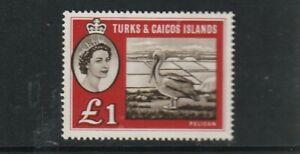 QEII TURKS & CAICOS IS   60 £1 Pelican superb  nhm um  cat £50