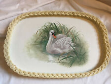 More details for imperial smit of guildford plastic wicker melamine large serving tray mute swan