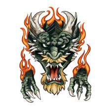 Dragon Ink Tattoos, Green Bearded Dragon & Flames, Made in USA, Temporary Tattoo