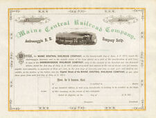 1870s Maine Central Railroad >  Androscoggin Railroad scrip stock certificate