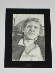 2014 Topps Star Wars Chrome 1/1 Sketch Card Han Solo Angelina Benedetti