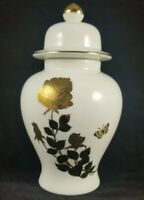 FRED ROBERTS CO. Small Porcelain Vase, Gold Floral Design JAPAN 6 inches
