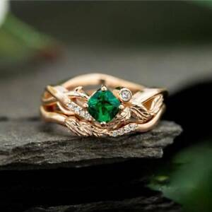zd0005 Handmade 100% Natural Emerald 1.30ct Size US 7 14K Yellow Gold ring b2568