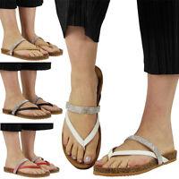 Womens Ladies Low Flat Heel Diamante Slip On Toe Post Shoes Sandals Slipper Size