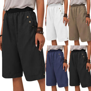 Women Casual Loose Knee Length Cargo Shorts Lady Half Pants Beach Summer Bottom