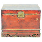 Antique Asian Chinese 34' wide Red front Trunk Chest w Carved base