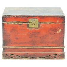 """Antique Asian Chinese 34"""" wide Red front Trunk Chest w Carved base"""