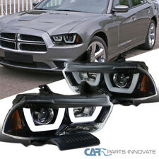 For 11-14 Dodge Charger Pearl Black Iced LED Clear Lens Projector Headlights