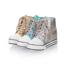 Ladies Womens High Top Sequins Lace Up Plimsoll Sneakers Boots Shoes PLus Size