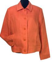 Talbots size 14 100% Irish Linen casual jacket blazer orange lined tailored