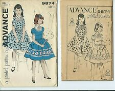 Adv 9874 sewing pattern 60's pretty DRESS trendy w/ front inset sew girl size 12