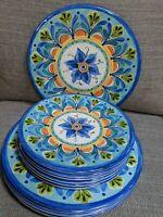 Set Of 12 Melamine Plates - 6 Dinner & 6 Salad - Blue And Orange Floral Pattern