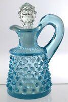 Vintage Fenton Style Blue Hob Nail Molded Glass Cruet Jar 4.5in R248