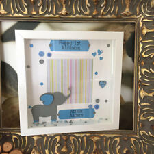 Handmade Personalised Elephant Themed Picture Box Frame Name Birthday any colour