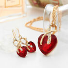 Gold Plated Jewelry Sets Women Crystal Heart Necklace Earrings Bridal Wedding ST