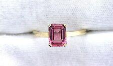 14Kt REAL Yellow Gold 8x6 Emerald AAA Pink Tourmaline Gemstone Gem Ring Sz 7.75
