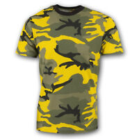 MILITARY ARMY T SHIRT BRIGHT YELLOW  DESERT CAMOUFLAGE PATTERN CAMO COTTON