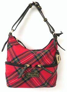 Dooney & Bourke Red Tartan Hobo Bag Purse