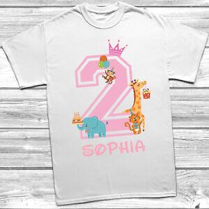 Personalised 2nd Birthday T-Shirt Girls Animal Theme Party Bday Design Glitter