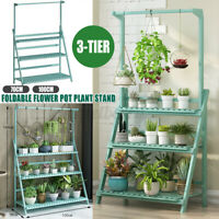 3 Tier Wooden Ladder Shelf Plant Flower Stand Shelves Folding Indoor Outdoor US