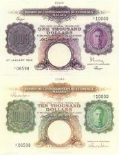Malaya reproductions of P16 1000 dollars & P17 10000 dollars UNC
