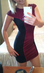 Kleid Minikleid Damen Mode Bordo Party Freizeit kleider 2XS XS S M 32 34 36 38