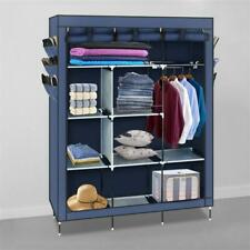 Heavy Duty Portable Closet Storage Organizer Wardrobe Clothes Rack Shelves Blue