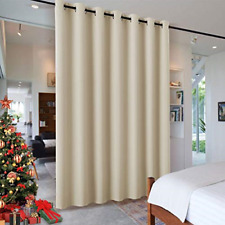Wall Divider Curtain for Living Room Noise Reduction Privacy Curtain Cream Beige
