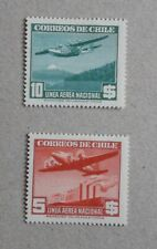 Chile 1941/42 Air Mail – Lot 2 stamps - Factories - Snowy peak