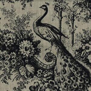 Textiles français 100% Linen Peacock Designer Print fabric - Black
