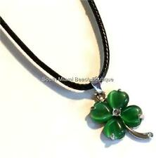 Silver Shamrock Necklace Irish Celtic Green Cats Eye Black Cord US Seller