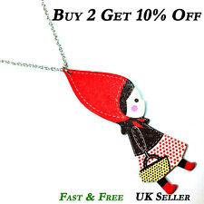 Little Red Riding Hood Wooden Necklace Kitsch Kawaii Girl Christmas Gift Pendant