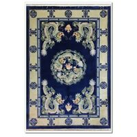 Yilong 4'x6' Blue Antique Handmade Silk Carpet Dragon Design Hand Craft Area Rug