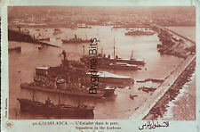Casablanca Squadron in the Harbour Royal Navy Ships Battleships 1932 Morocco