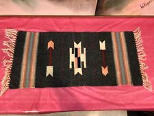 Vintage NATIVE AMERICAN TAPESTRY gray throw indian woven linen Chimayo floor mat