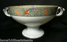 Large Signed Rosenthal Porcelain Hand Painted Handled Centerpiece Birds Flowers