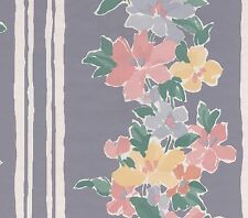 Islands In The Sun Tropical Floral Flower Blue Pink Yellow Stripe Roll Wallpaper