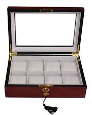 Luxury cherry wooden watch box display case storage organiser for large watch