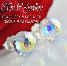 925 Silver Stud Earrings Disco Ball 8mm Crystal AB Crystals from Swarovski®