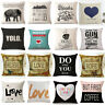 Linen Cotton Square Throw Pillow Case Home Decorative Sofa Waist Cushion Cover