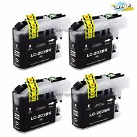 4PK LC203 XL Black Ink For Brother MFC-J460DW J480DW J680DW J485DW J880DW